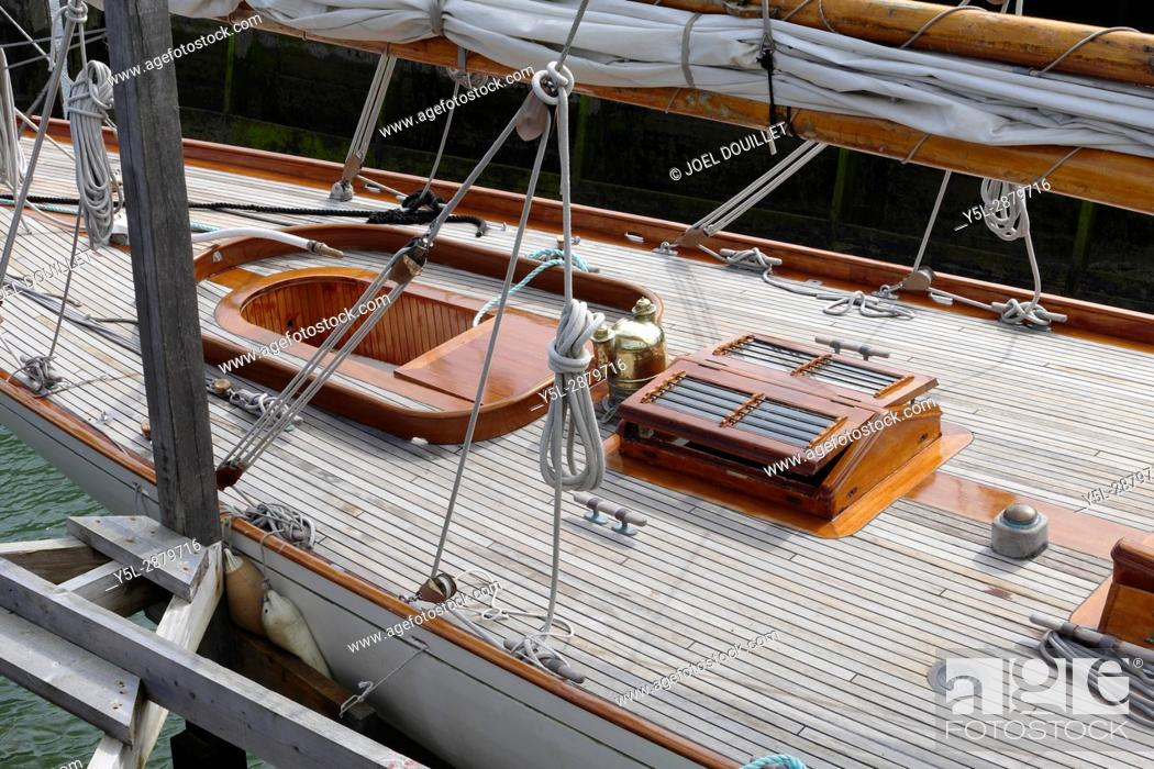 Stock Photo: Nan of Fife : classic yacht with an auric cutter rig, designed and built by William Fife in 1896. It is the oldest Fife plan yet sailing currently.
