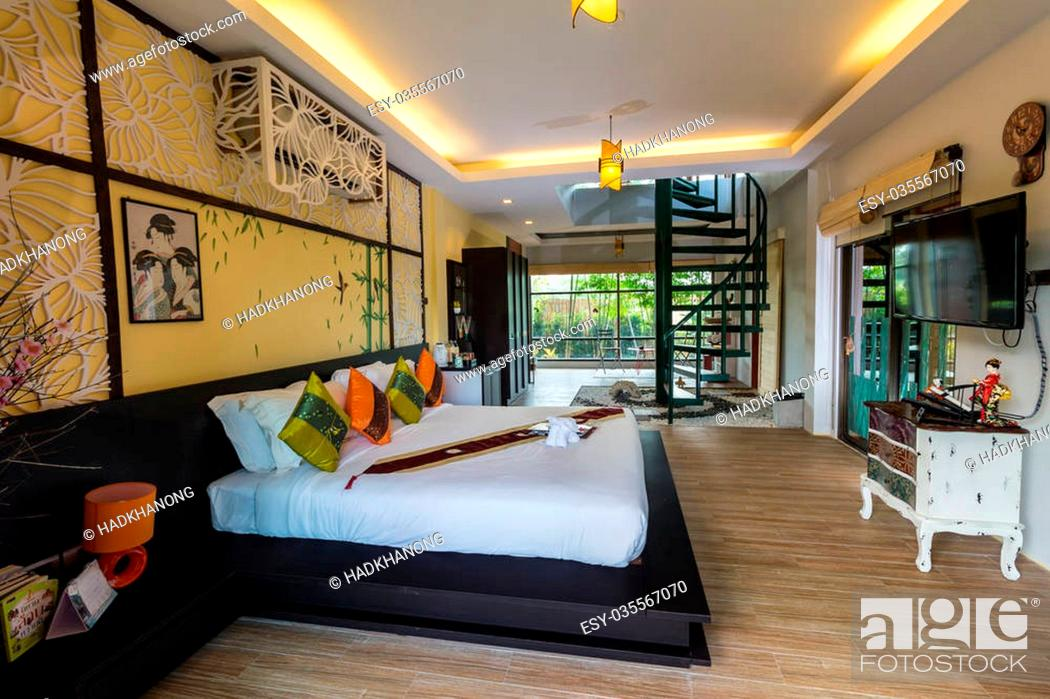Stock Photo Modern Styles Of Living Room At Resort In Thailand