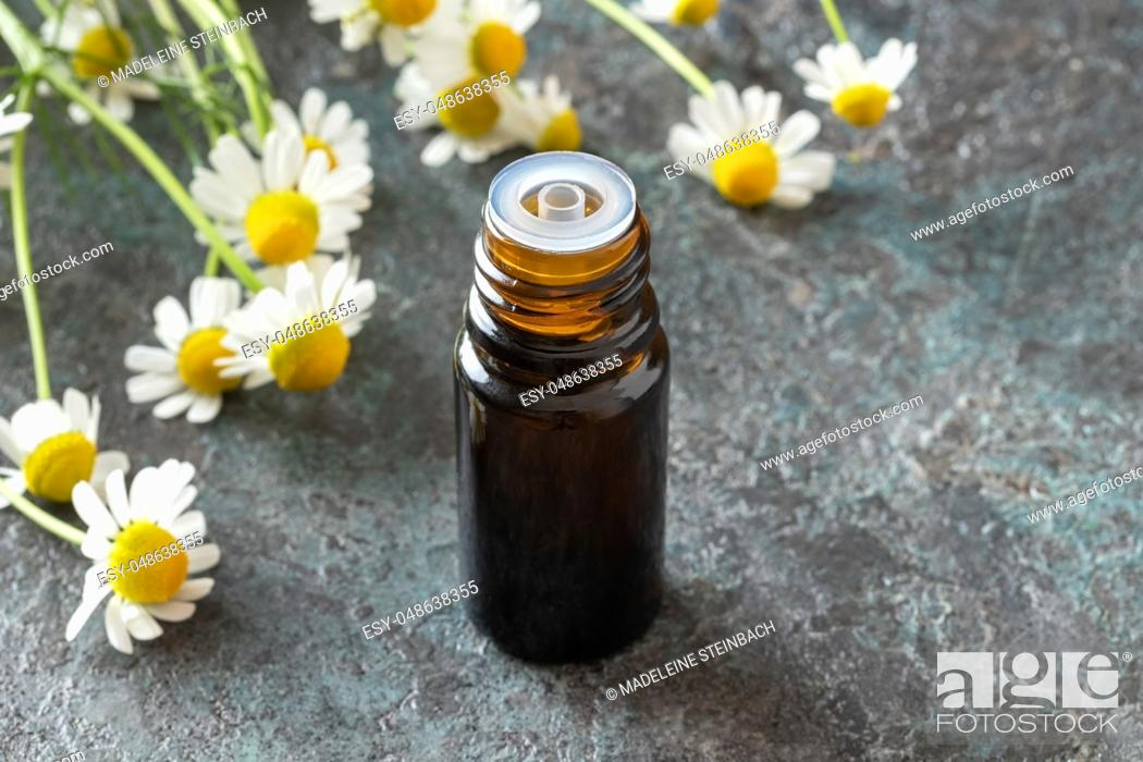 Imagen: A bottle of essential oil with fresh German chamomile flowers in the background.