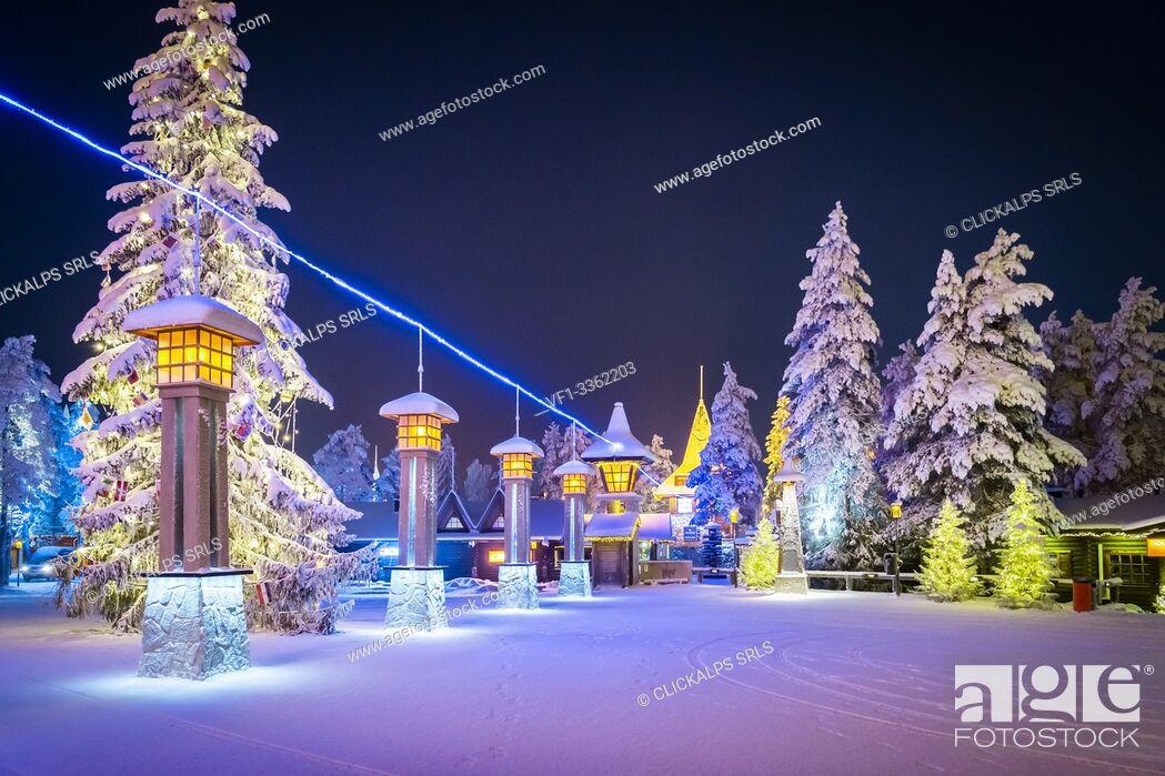 Stock Photo: Line of the Arctic Circle Polar, Santa Claus Village, Rovaniemi, Lapland, Finland, Europe.
