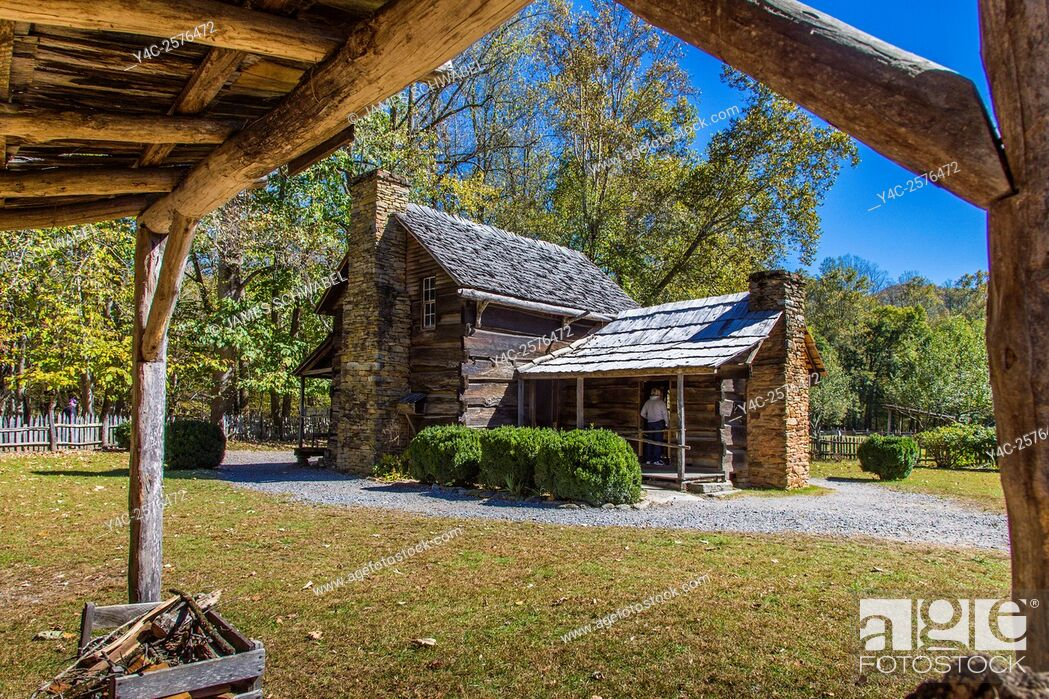 Stock Photo: Historic Mountain Farm Museum in Oconaluftee area of Great Smoky Mountains National Park in North Carolina.