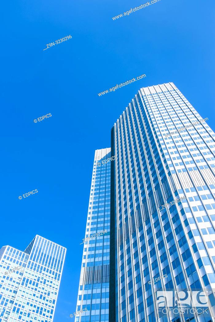 Stock Photo: skyscrapers in central business district, frankfurt am main, hesse, germany.