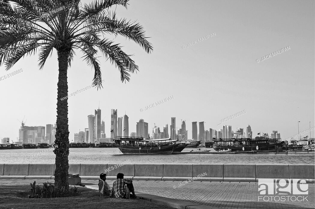 Stock Photo: doha city skyline view in qatar in black and white.