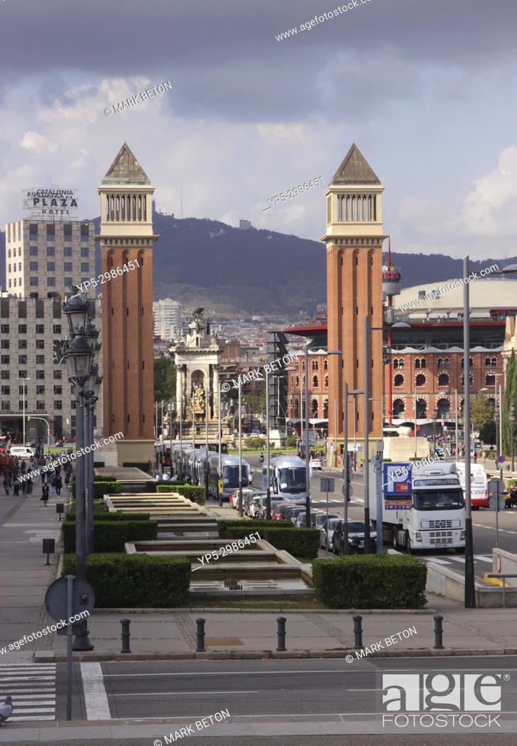 Stock Photo: Venetian style Towers Placa d'Espanya, Barcelona, Spain.