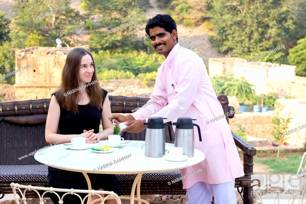 Stock Photo: India, Rajasthan, Alwar, Heritage Hotel Ram Bihari Palace.