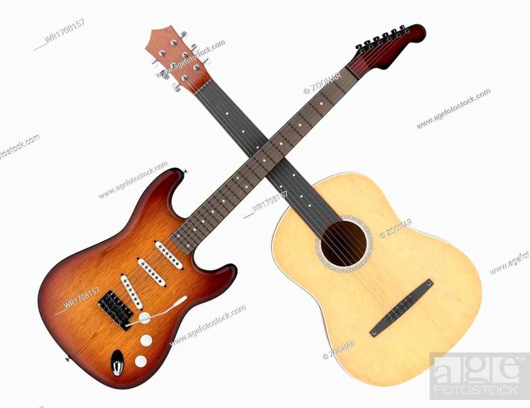 Stock Photo: two acoustic and electric guitars isolated.