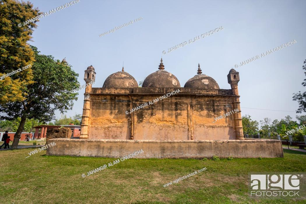 """Stock Photo: Bangladesh â. """" March 2, 2019: Nayabad Mosque Back Side views, is located in Nayabad village in Kaharole Upazila of Dinajpur District, Bangladesh."""