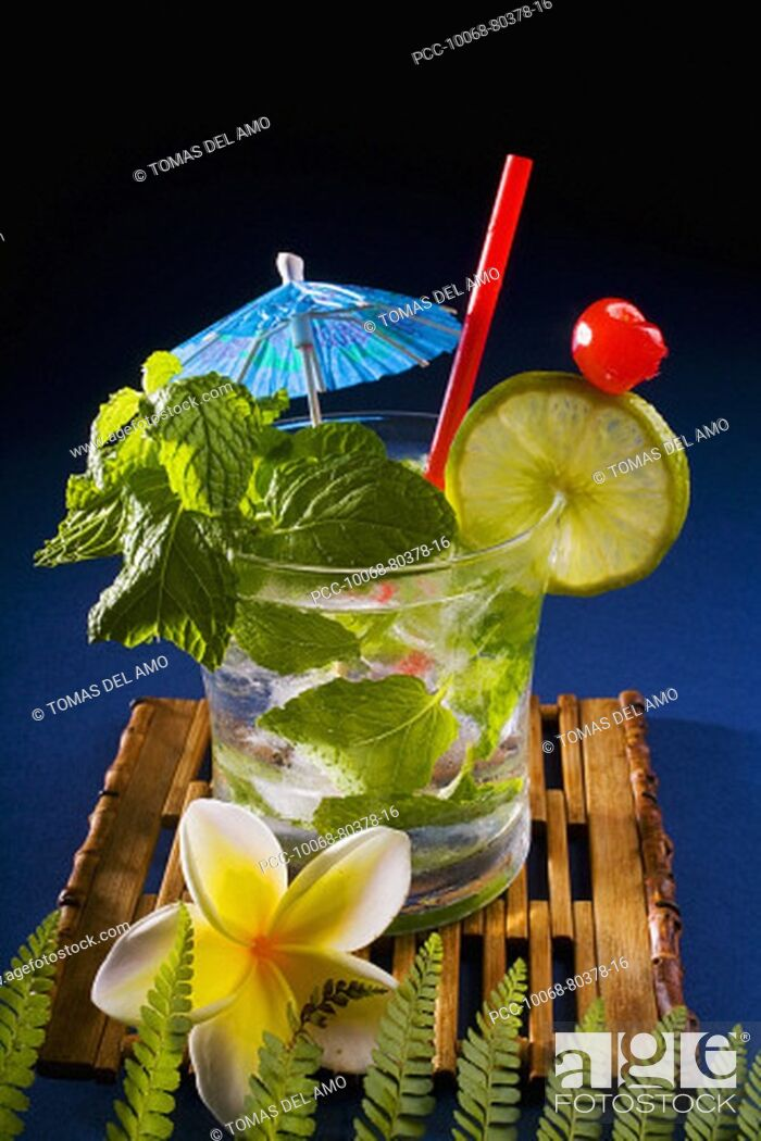 Stock Photo: A mojito garnished with fruit and mint.