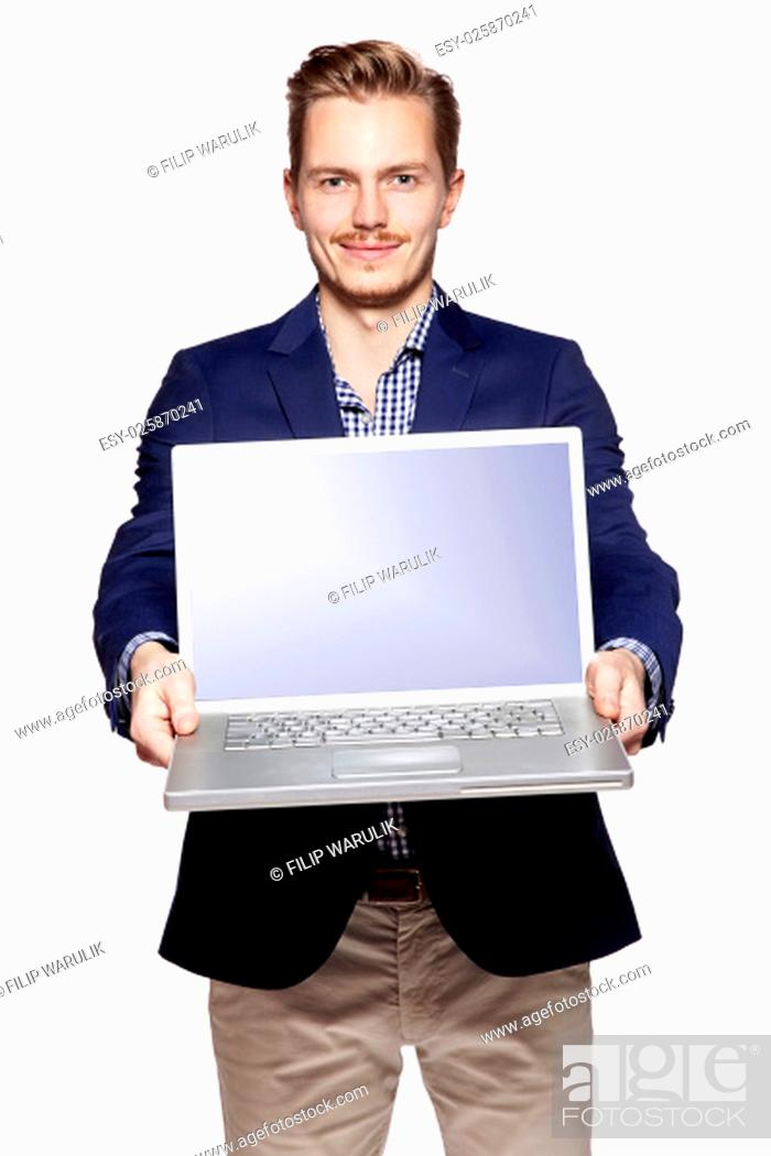 Stock Photo: Photo of young businessman giving his laptop with copy space.