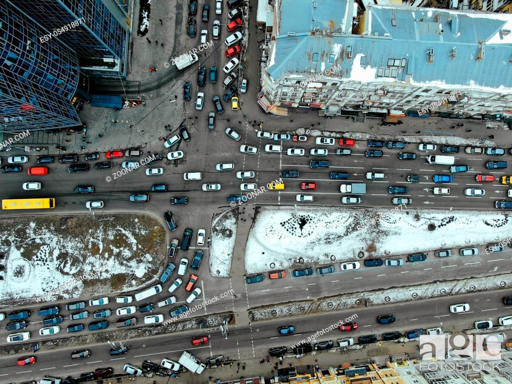 Stock Photo: Street of the big city from a bird's eye view, winter time.