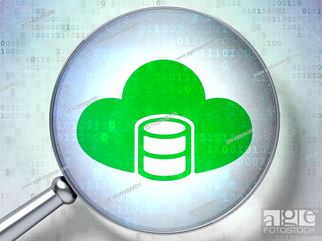 Stock Photo: Software concept: magnifying optical glass with Database With Cloud icon on digital background, 3D rendering.