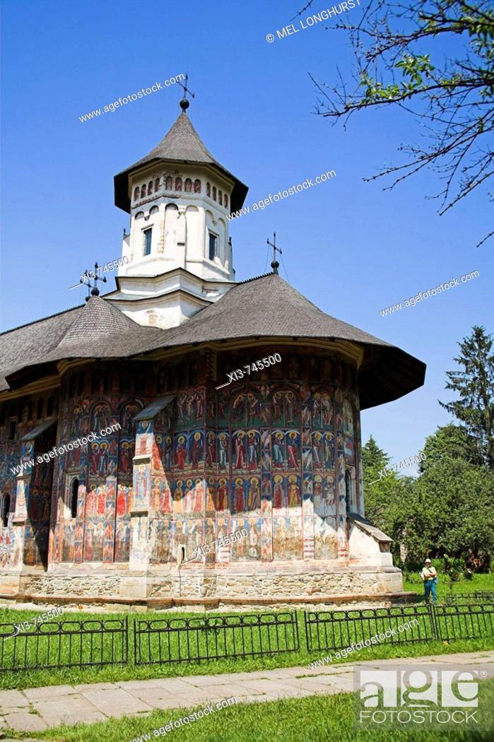 Stock Photo: Church Of The Annunciation, Moldovita Monastery, Moldovita, Southern Bucovina, Moldavia, Romania.