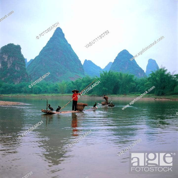 Stock Photo: landscape, river, ship, tree, mountain, natural.