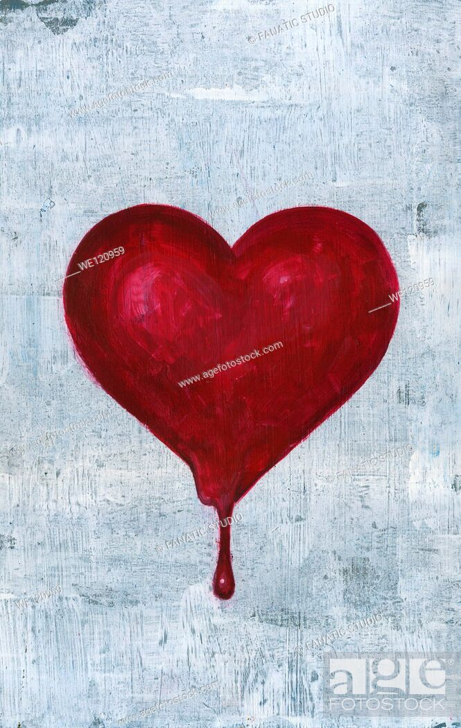 Stock Photo: Illustrative image of blood dropping out from heart representing heart break.
