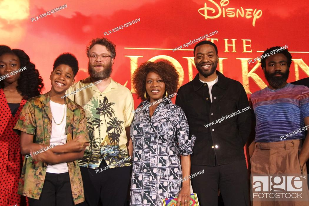 """Stock Photo: Shahadi Wright Joseph, JD McCrary, Seth Rogen, Alfre Woodard,Chiwetel Ejiofor, Donald Glover 07/10/2019 """"""""The Lion King"""""""" Press Conference held at the Montage."""