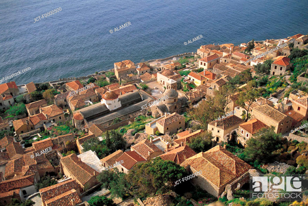 Stock Photo: Peloponnese, Monemvassia, the lower town.