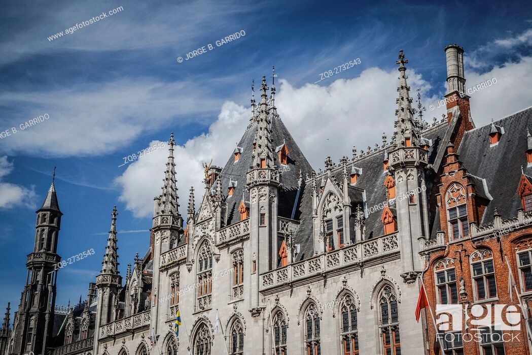 Stock Photo: Central square of the old town on Bruges, Belgium.