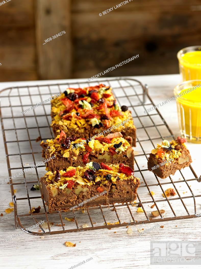 Stock Photo: chocolate brownie and dates.