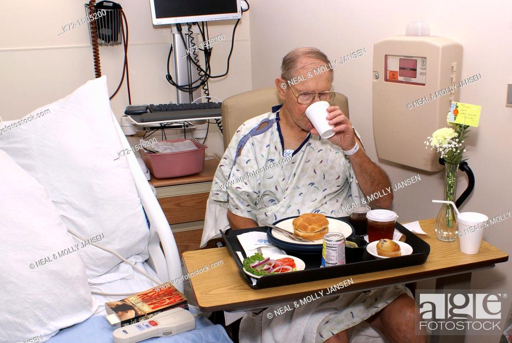 Stock Photo: Patient Eating Hospital Food.