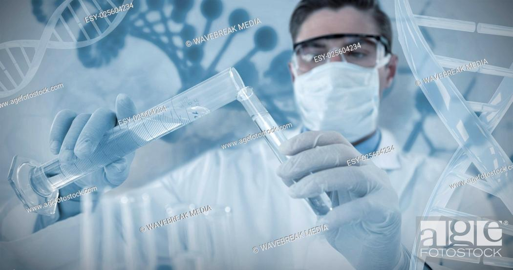 Stock Photo: Composite image of doctor wearing medical gloves filling the test tube.