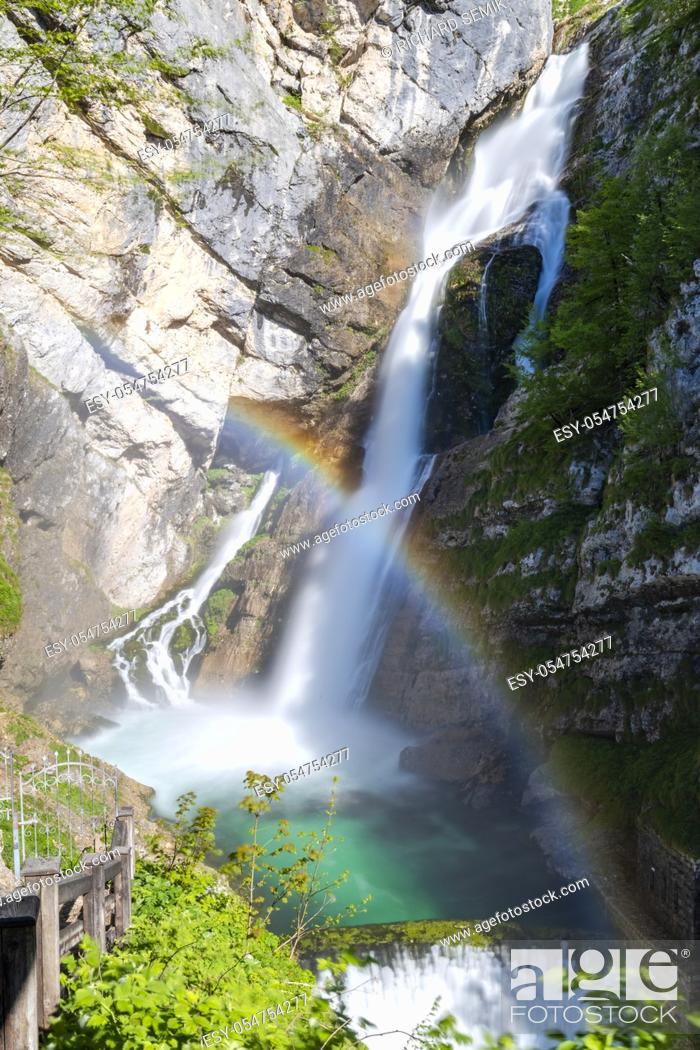 Stock Photo: Savica waterfall in Triglavski national park, Slovenia.