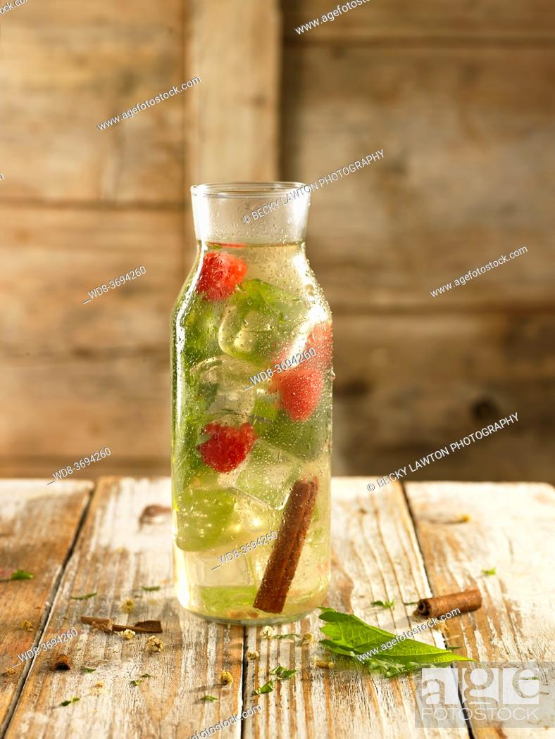 Stock Photo: chamomile, cinnamon, raspberry and shiso relaxing water.