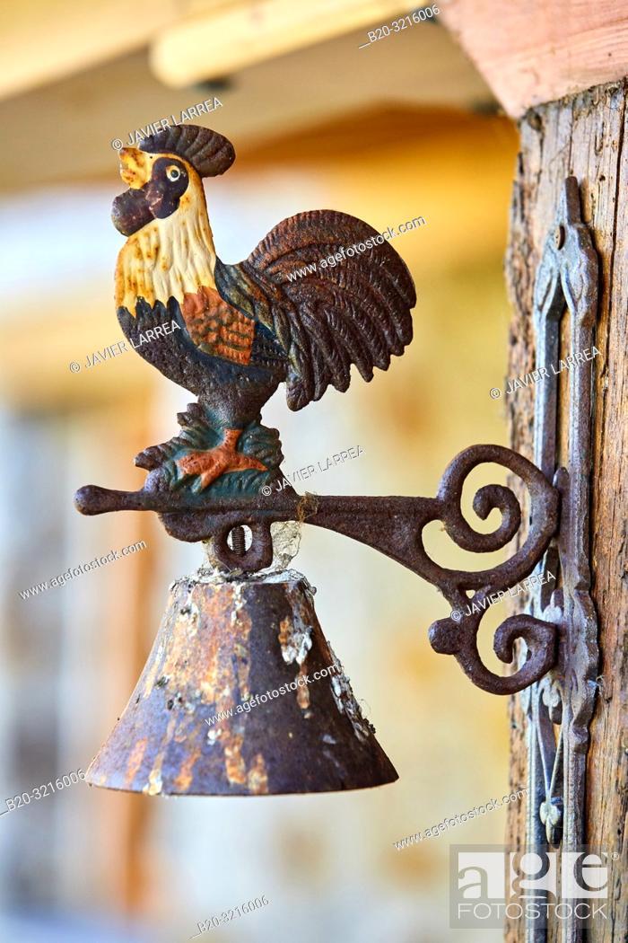 Stock Photo: rooster bell, porch, Urain Apartments, Basque farmhouse, Deba, Gipuzkoa, Basque Country, Spain, Europe.