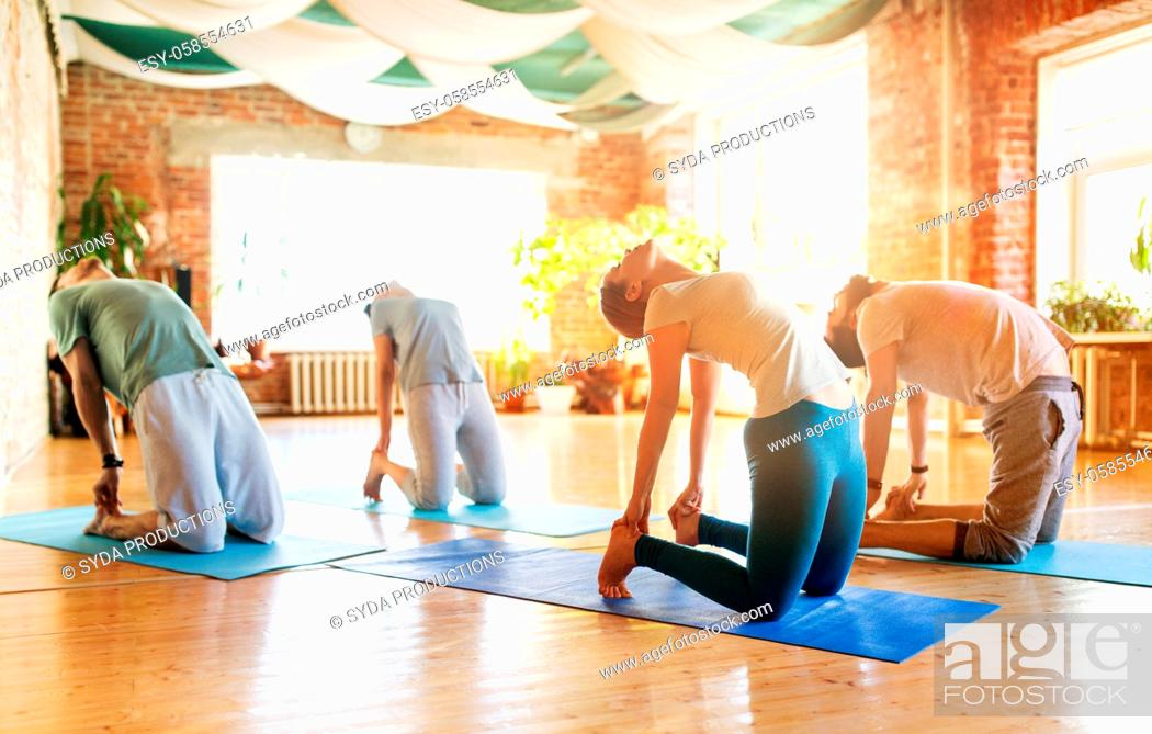 Stock Photo: group of people doing camel pose at yoga studio.