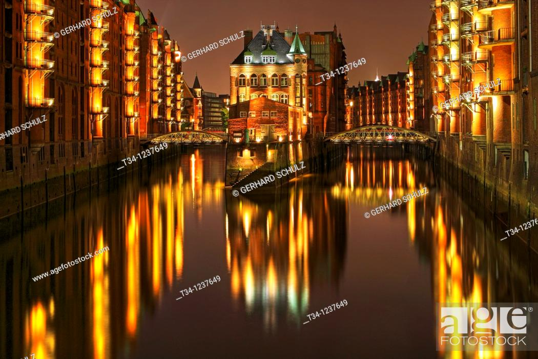 Stock Photo: Speicherstadt at Hamburg Harbour, Germany.