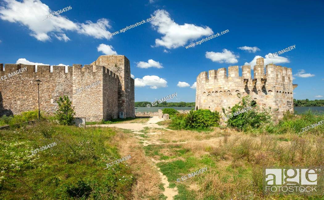 Stock Photo: Smederevo Fortress, one of the largest fortifications in Serbia.