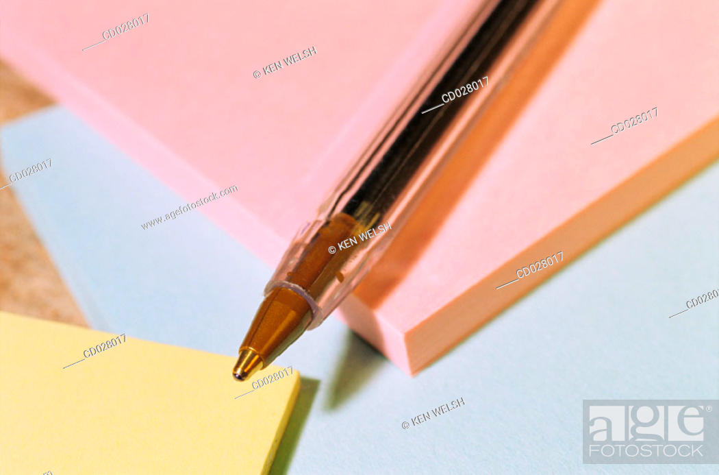 Stock Photo: Ballpoint pen and sticky notes.