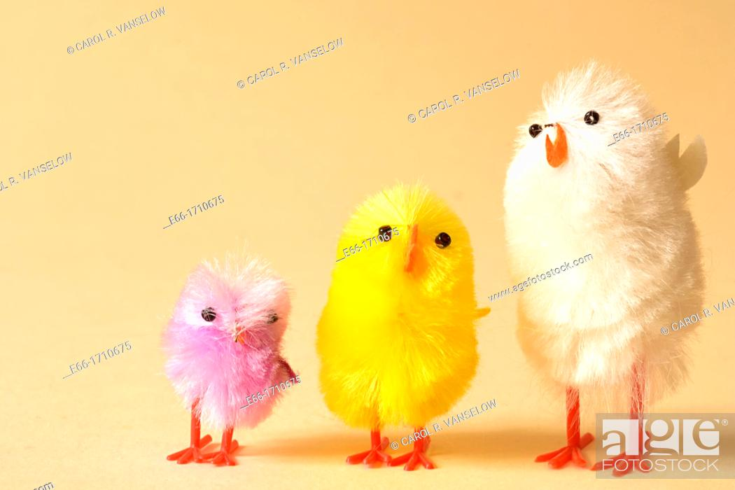 Stock Photo: small chicks used as Easter basket decoration.
