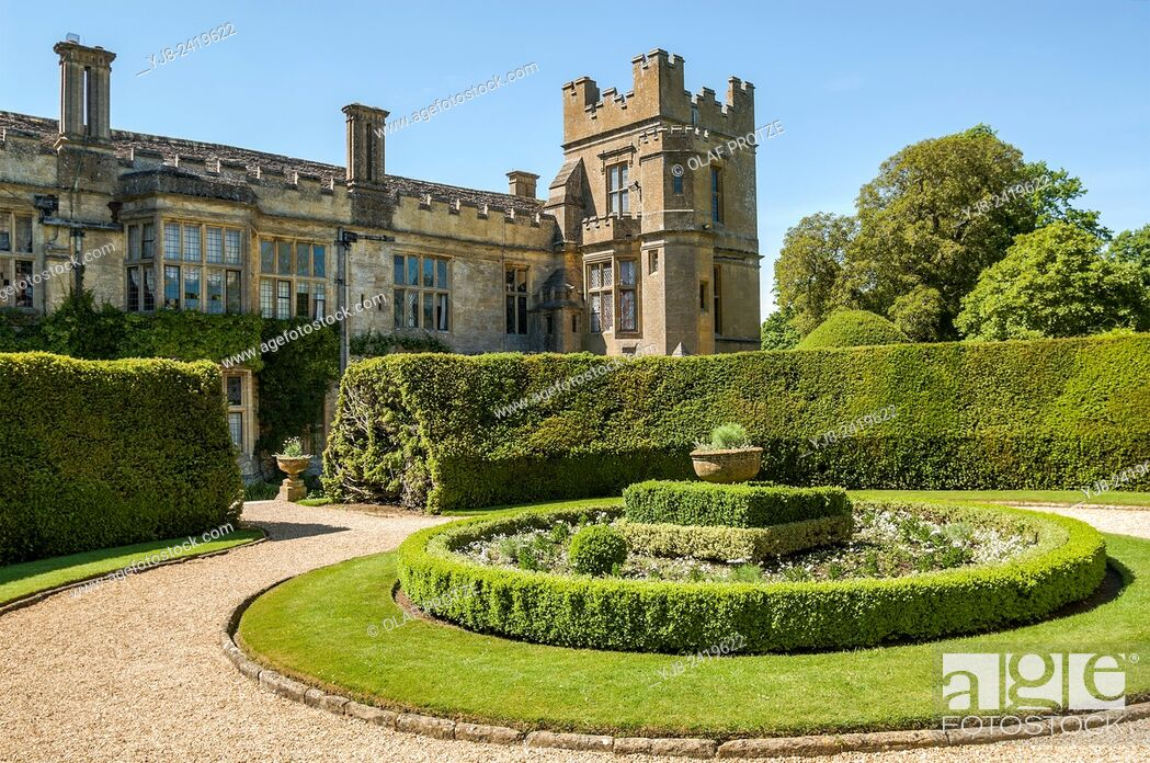 Stock Photo: Sudeley Castle is a castle located near Winchcombe, Gloucestershire, England. It dates from the 10th century, but the inhabited portion is chiefly Elizabethan.