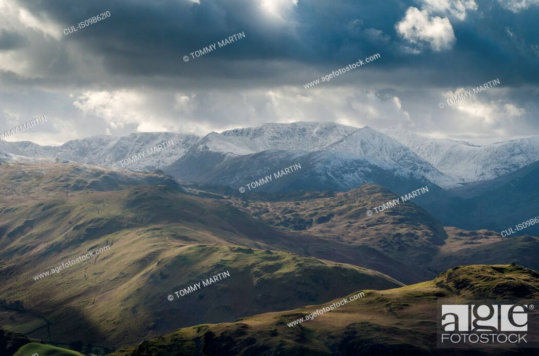 Stock Photo: Landscape view from Arthur's Pike across Hallin Fell, above Ullswater, The Lake District, UK.