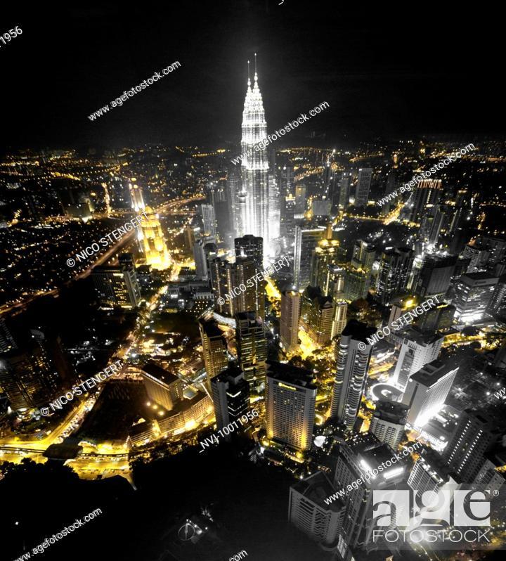 Stock Photo: Petronas Twin Towers, from the Menara TV tower, Kuala Lumpur, Malaysia, Southeast Asia, Asia.