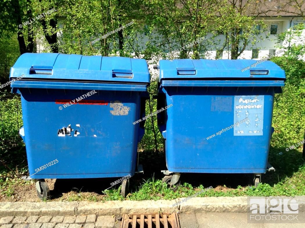 Stock Photo: Blue recycling container for paper, Bavaria, Germany, Europe.