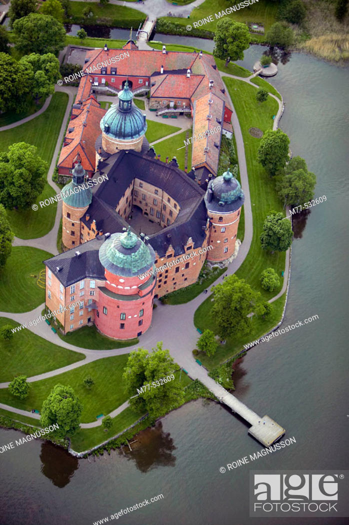 Stock Photo: Old castle and lake, aerial view. Gripsholm castle, Mariefred, Södermanland,  Sweden.