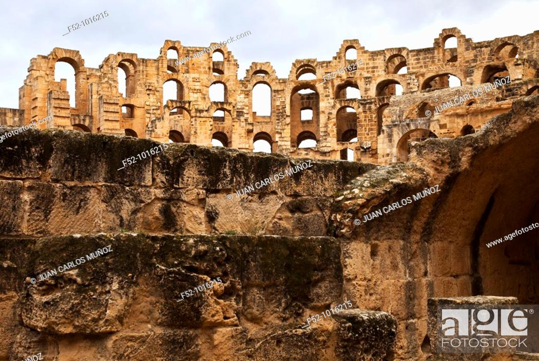 Stock Photo: Roman Coliseum of El Djem. Tunisia. Africa.