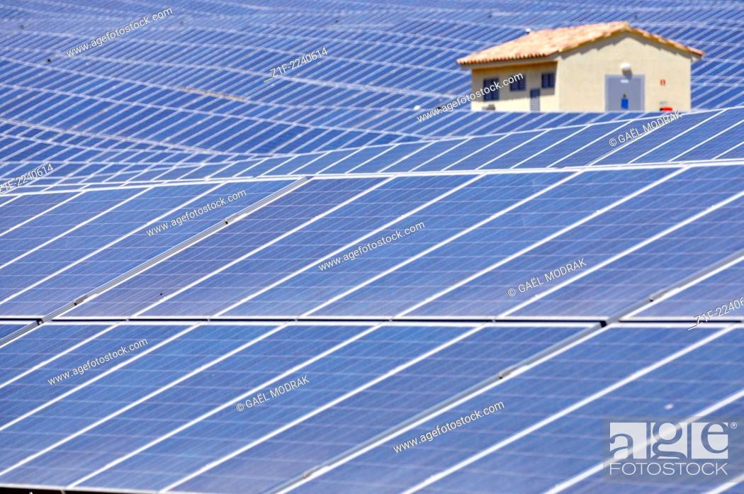 Stock Photo: Solar field in Corsica, France.