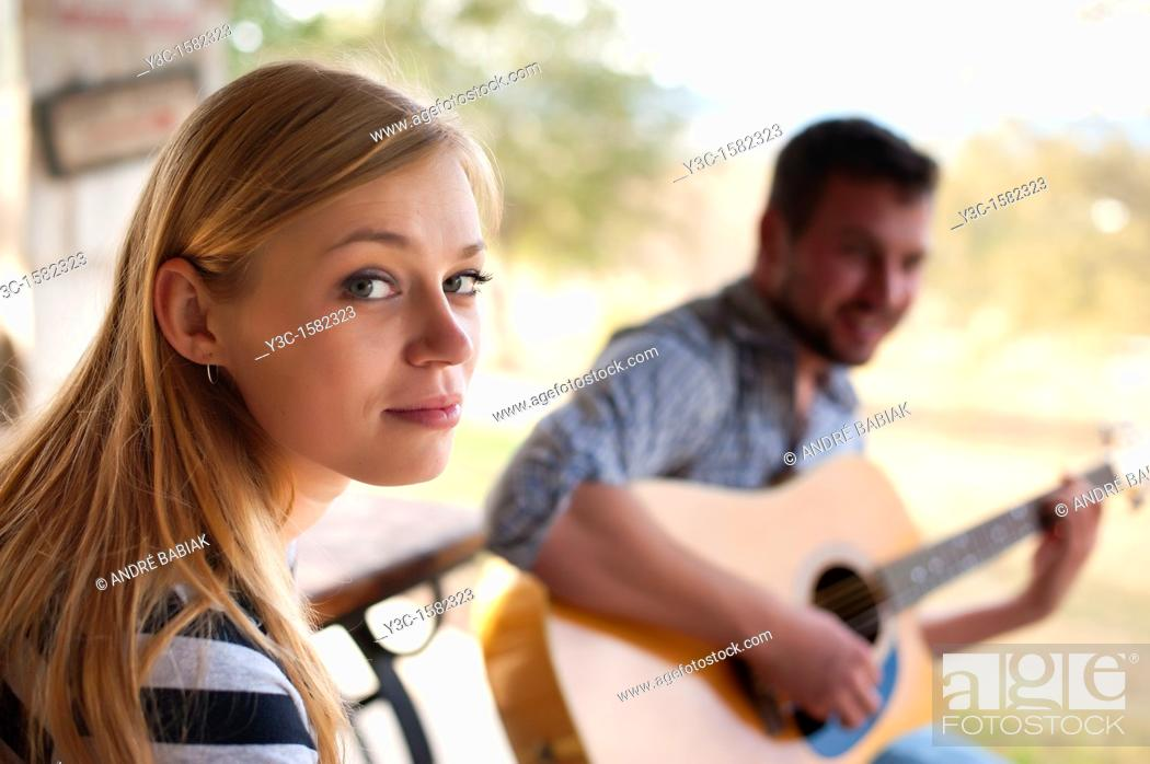 Stock Photo: Young people - woman and man enjoying house music.