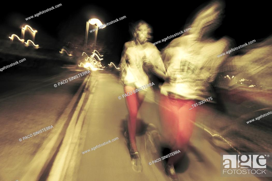 Stock Photo: He knew of night runners with aura projection. Valencia, Spain.