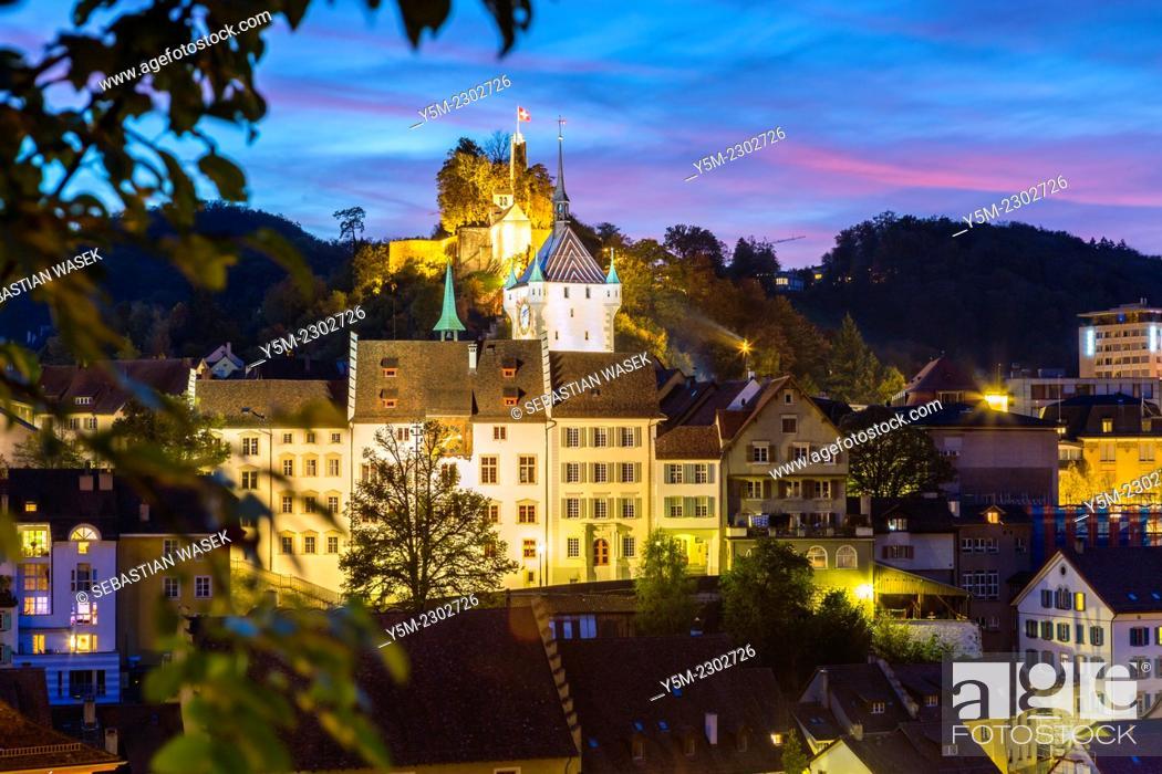 Stock Photo: View towards castle, Baden, Kanton Aargau, Switzerland.
