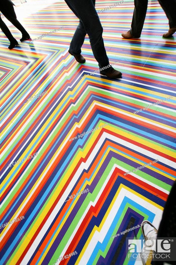 Stock Photo: Coloured floor in the MOMA, New York City, USA.