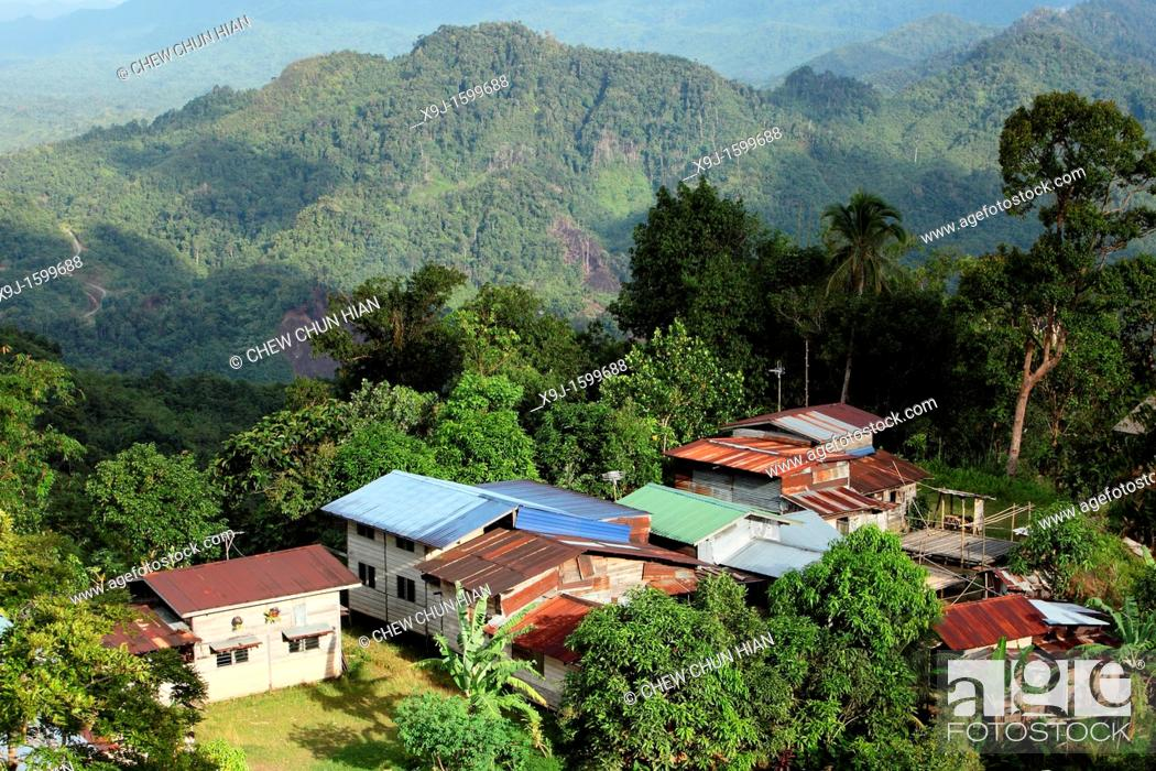 Stock Photo: View Of A Bidayu Highland Village At Borneo Highland Kidding Village, Kuching, Sarawak.