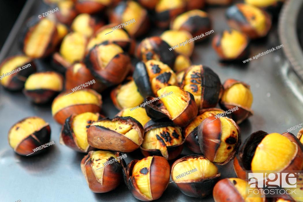Stock Photo: Grilled chestnuts.