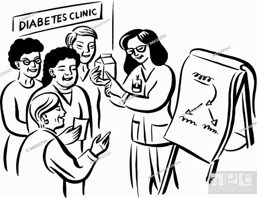 Stock Photo: A doctor recommending her patients on food consumption at the diabetes clinic.