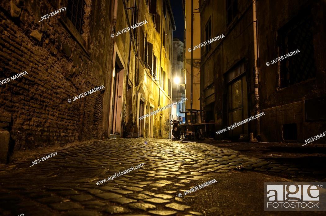 Stock Photo: Streets near the Portico di Ottavia, Rome, Italy.
