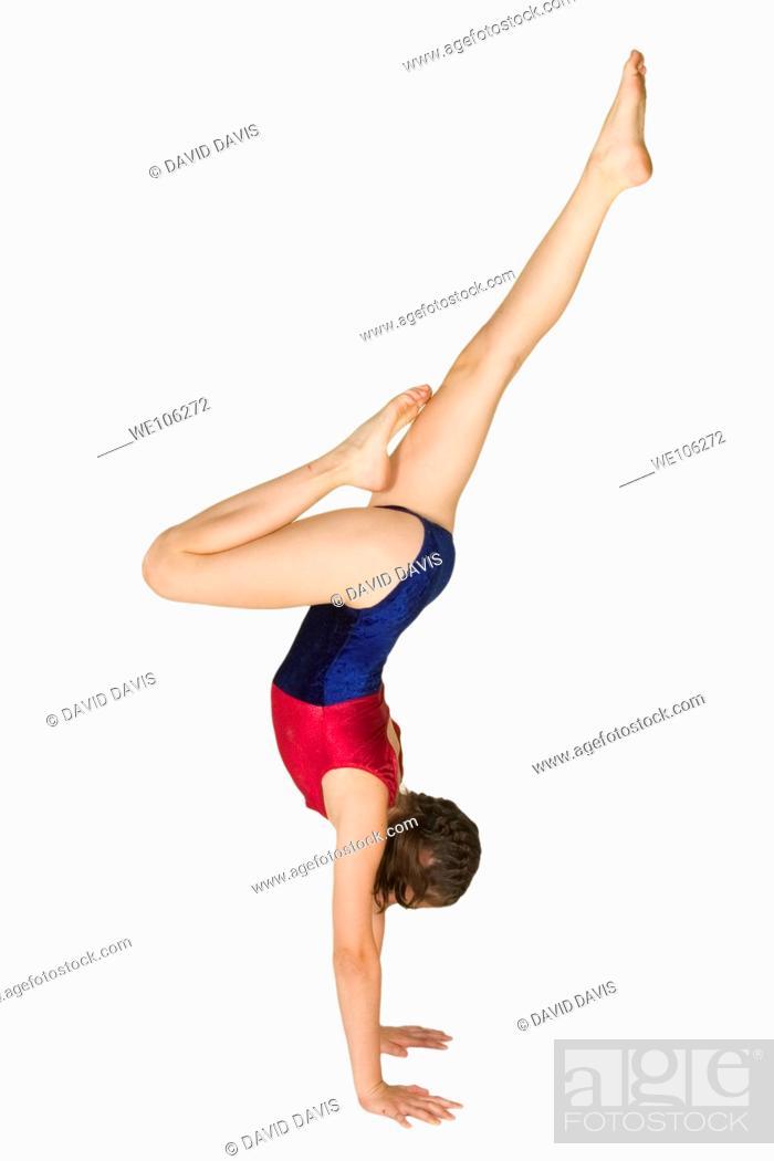 Stock Photo: Ten year old caucasian girl in gymnastics poses.