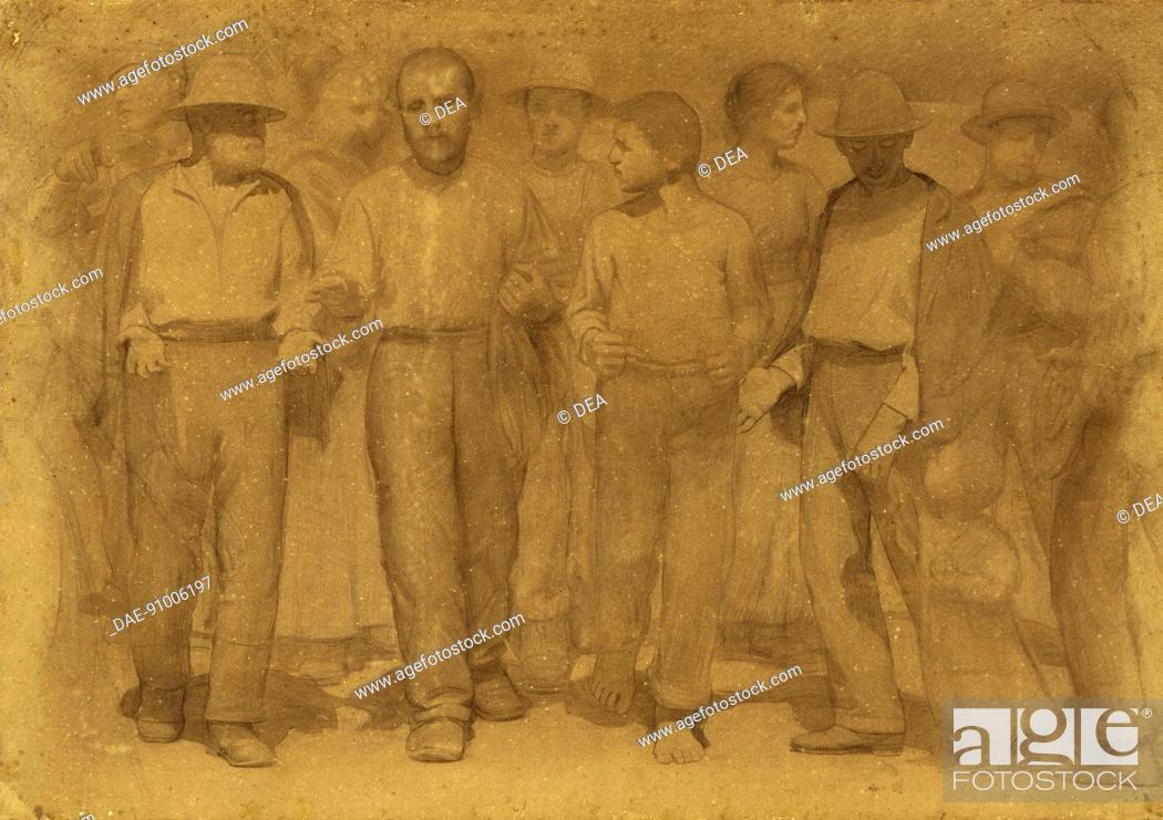 Stock Photo: Group of workers, study for the fourth state, ca 1898, by Giuseppe Pellizza da Volpedo (1868-1907), pencil and charcoal on paper, 141x200 cm.