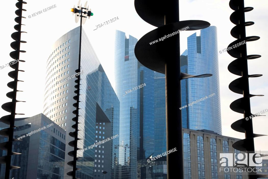 Stock Photo: Modern Offices and Art in the Defense Business District of Paris, France.